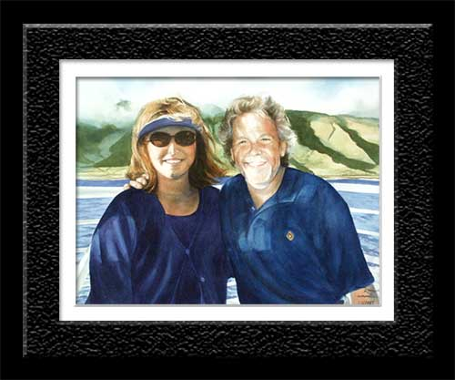 watercolor of vacationing couple off coast of Maui