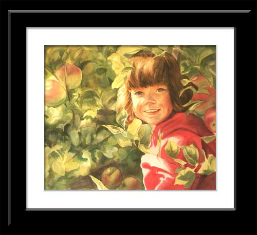 watercolor portrait of young girl in apple tree